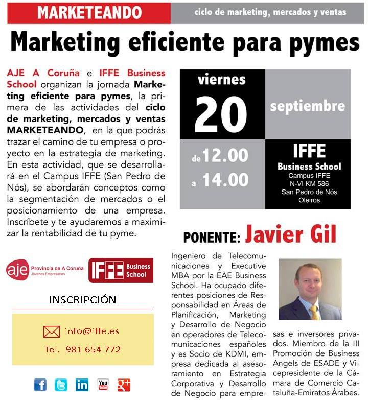 """MARKETEANDO: Ciclo de conferencias sobre """"marketing, mercados y ventas"""" en IFFE (San Pedro de Nós – Oleiros)"""