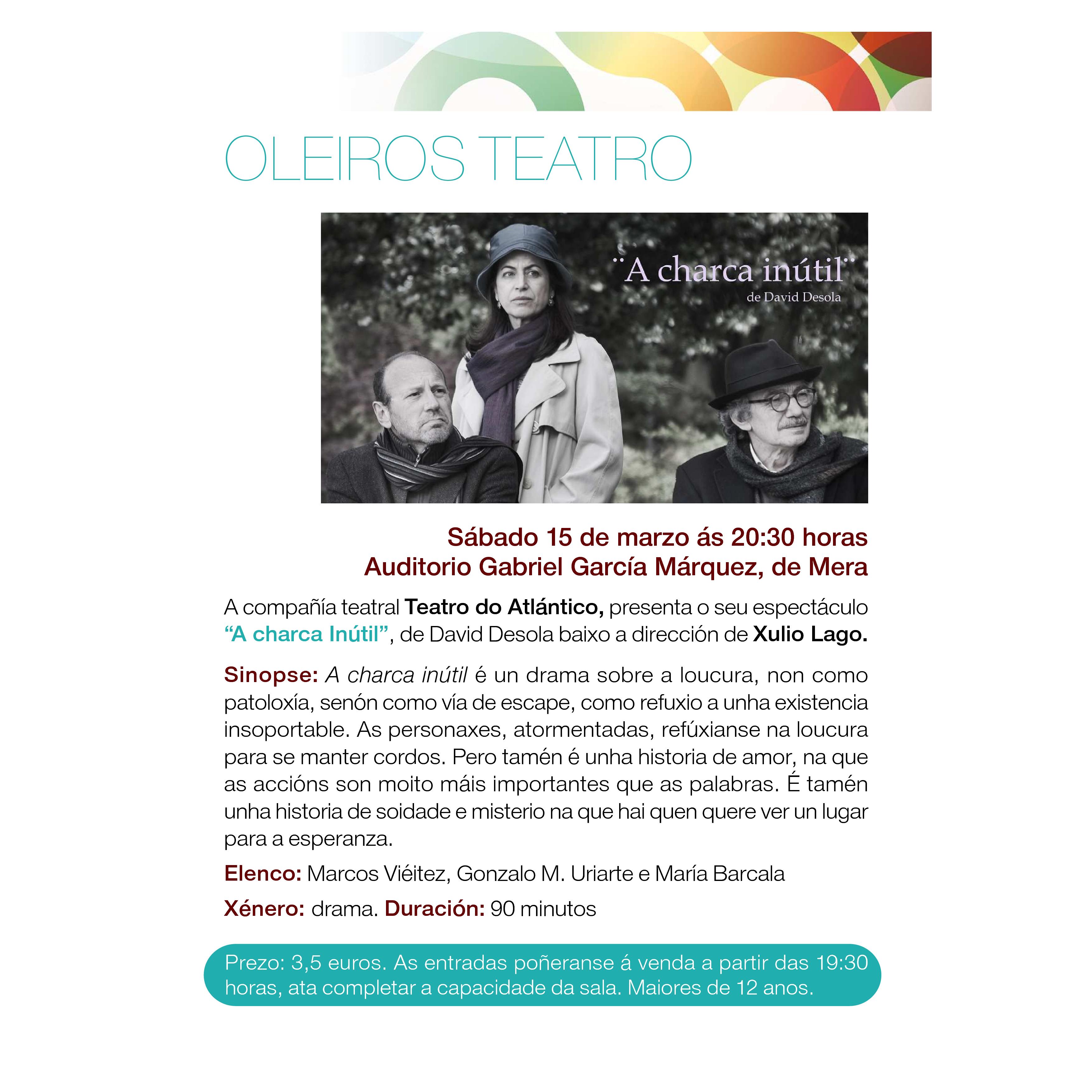 """TEATRO: """"A Charca inútil""""; por Teatro do Atlántico"""